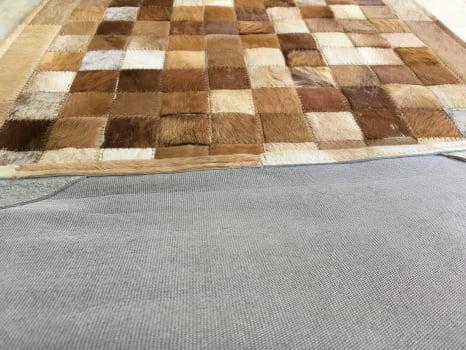 Tapete de couro passadeira bege malhado 0,60x2,00 com bordas