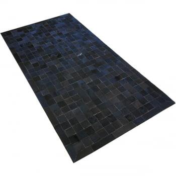 Tapete de couro preto café 1,00x2,00 com bordas